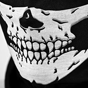 Motorcycle Face Masks 2 Pieces Xpassion Skull Mask Half Face for Out Riding Motorcycle Black by Xpassion