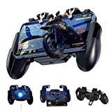 LEIZHAN Mobile Game Controller H5-II Gamepad Grip for PUBG FPS Game - Game Trigger Joystick - Built-in Cooling Fan for 4.7-6.5 Inch Android & iOS Phones (New Version in 2019) (Color: black, Tamaño: 6.10 x 4.53 x 1.38 inch)