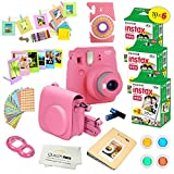 Fujifilm Instax Mini 9 Instant Camera FLAMINGO PINK + Fuji INSTAX Film (60 SHEETS) + Accessories kit Bundle; Custom Matching Case w/ Strap + 4 Color Filters + Photo Album + Assorted Frames + MORE