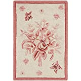 Safavieh Chelsea Collection HK250C Hand-Hooked Ivory and Rose Wool Area Rug, 1-Feet 8-Inch by 2-Feet 6-Inch