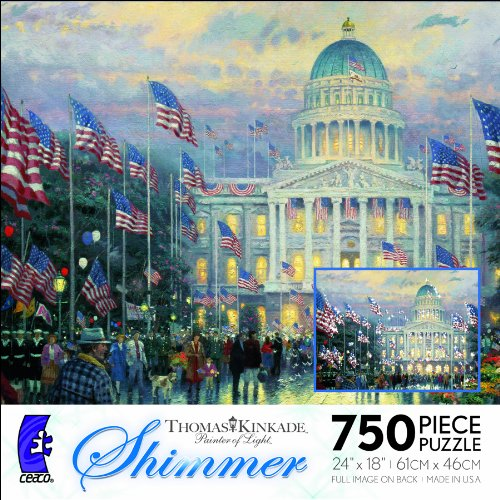 Ceaco-Thomas-Kinkade-Shimmer-Flags-Over-The-Capitol