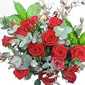 シンプルな赤系のバラの花束 100本季節のグリーン付き(生花)  【お祝い・記念日・誕生日・フラワーギフト・バラ】