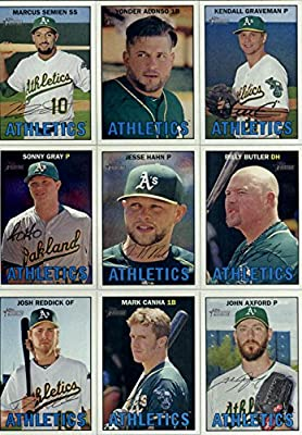 2016 Topps Heritage Oakland Athletics Team Set of 13 Cards: Marcus Semien(#46), Yonder Alonso(#49), Kendall Graveman(#81), Sonny Gray(#90), Jesse Hahn(#92), Billy Butler(#123), Josh Reddick(#143), Ryan Dull/Carson Blair(#172), Mark Canha(#287), Oakland At