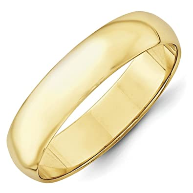 10k Yellow Gold 5mm Ltw Half Round Band Ring - Ring Size Options Range: H to Z