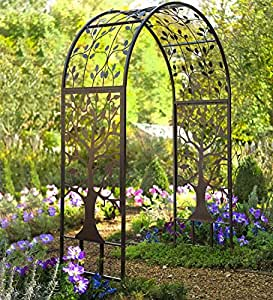 Metal garden arbor with tree of life design for Garden design amazon