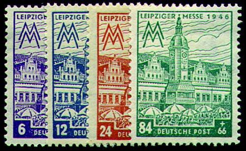 Briefmarken SBZ Nr. 162AX-165AX postfrisch Leipziger Messe 1946