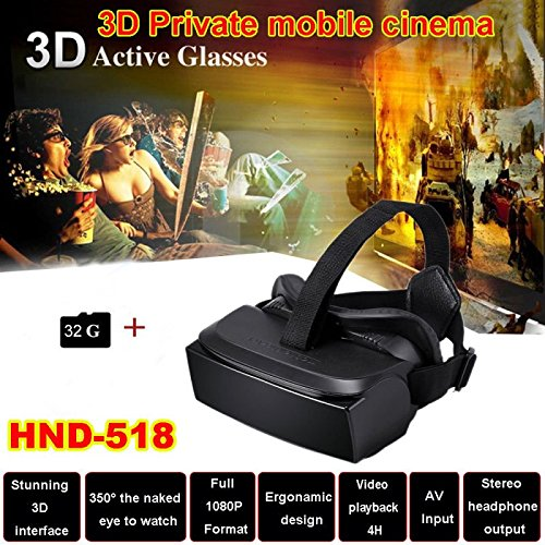 """iTontek® HMD-518 VR Glasses Virtual Reality Headset w/ 80"""" Wide Screen 1080P 3D Video Movie Game Glasses Private Mobile Cinema Personal Theater Game Movie + 32G TF Card (VR 3D glasses HMD518 32G)"""