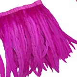 Sowder Rooster Hackle Feather Fringe Trim 10-12inch in Width Pack of 1 Yard(Fuchsia) (Color: Fuchsia)