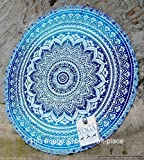 INDIAN TWIN BLUE FLORAL BEDSPREAD WALL HANGING TAPESTRY Ethnic Decoration Decor