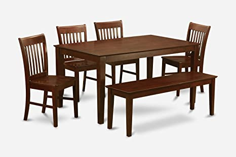 East West Furniture CANO6C-MAH-C 6-Piece Dining Room Table Set