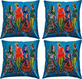 Paramount Art Satin 4 Piece Cushion Cover Set - 16'' x 16'', Multicolor