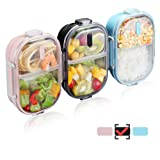 WORTHBUY 2 Compartments Bento Lunch Box with Fork and Spoon, Insulated Stainless Steel Portion Control Lunch Containers for Kids and Adults, 100% Leakproof and Keep Food Separated(Black) (Color: Black)