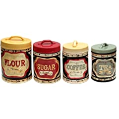 Quality Elegant Country Store Flour Sugar Coffee and Tea Canister Set of 4 Kitchenwares