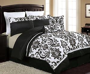 VCNY Daniella 8-Piece Flocked Comforter Set, Black/White, King