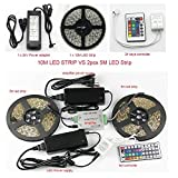 SUPERNIGHT 10M Continuous RGB LED Strip Light 5050 SMD 30leds/m 300LEDs/Reel Full Kit 32.8FT Multi-color Changing IP65 Waterproof Flexible LED Strip + 44key IR Remote controller + DC24V 3A Power Adapter for Wedding Party Decoration