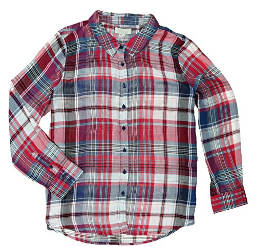 Olive & Oak Long Sleeve Plaid Button Front Shirt (X-Large, Teaberry Combo)