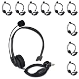 KENMAX 2 Pin Noise Cancelling Overhead Earpiece Headset with Boom Mic for Two Way Radio Kenwood Baofeng Wouxun Linton Puxing Weierwei Quansheng HYT TYT (10 Packs) (Color: Pack of 10)