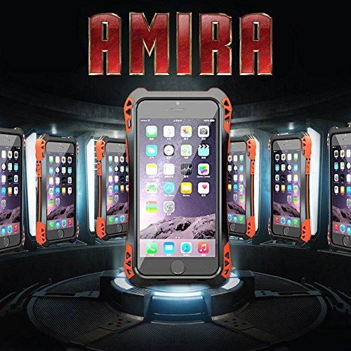 IPhone 6 Plus, Meiya case-Cover antiurto impermeabile, in alluminio, con vetro Gorilla Glass Metal, Heavy Duty Armor-Custodia paraurti, militare per iPhone 6 Plus 6, vetro Grollia in gomma silicone Firber-Custodia di protezione in carbonio