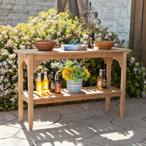The Brookford Teak Outdoor Console Table Is a