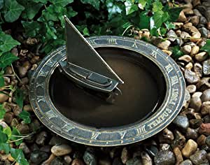 Whitehall Products Sailboat Sundial Birdbath, Copper Verdi