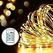 Lichterkette Kupferdraht, GDEALER 15 Meter 150 LED Sternklar Lichterkette Dimmbar Beleuchtung Dekoration Spritzwasserfest IP20 Innen und Au�en mit Fernbedienung f�r Weihnachten, Hochzeit, Haus, Treppe, B�ume (1 St�ck)