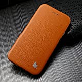 Jisoncase® Handmade Genuine Leather iPhone 6 Case Ultra Thin [One-Piece Designed] Book Folio Style [Stand Function] Slim Fit Skin Cover for apple iPhone 6 4.7 inch Screen Smartphone - Brown JS-IP6-02C20