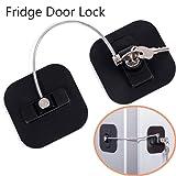 Refrigerator Lock, Fridge Lock with Keys, Freezer Lock and Child Safety Cabinet Lock with Strong Adhesive (Fridge Lock-Black 1Pack) (Color: Black fridge lock)