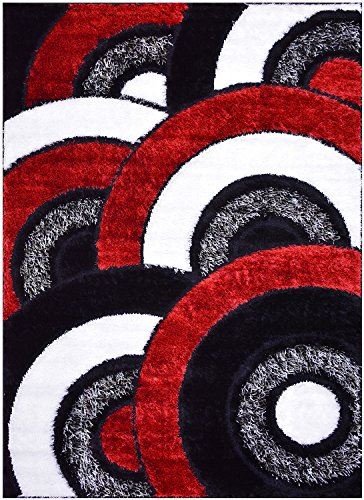 "Royal Collection Black Red White Abstract Contemporary Design Shaggy Area Rug (6053) (5'1""X7'1"") front-415354"