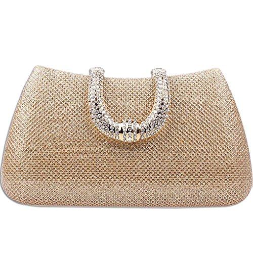 KAXIDY Donna Pochette Borsa Sacchetto Borsetta Da Sera Borsa Diamante (Oro)