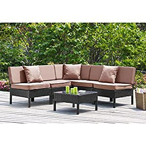 6 piece outdoor patio deep seating group conversation set with tan cushions - Conversation set replacement cushions ...