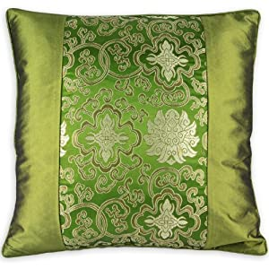 Amazon.com - Silky Decorative Embroidered Oriental Cushion Cover / Pillow Case - Green - Throw ...