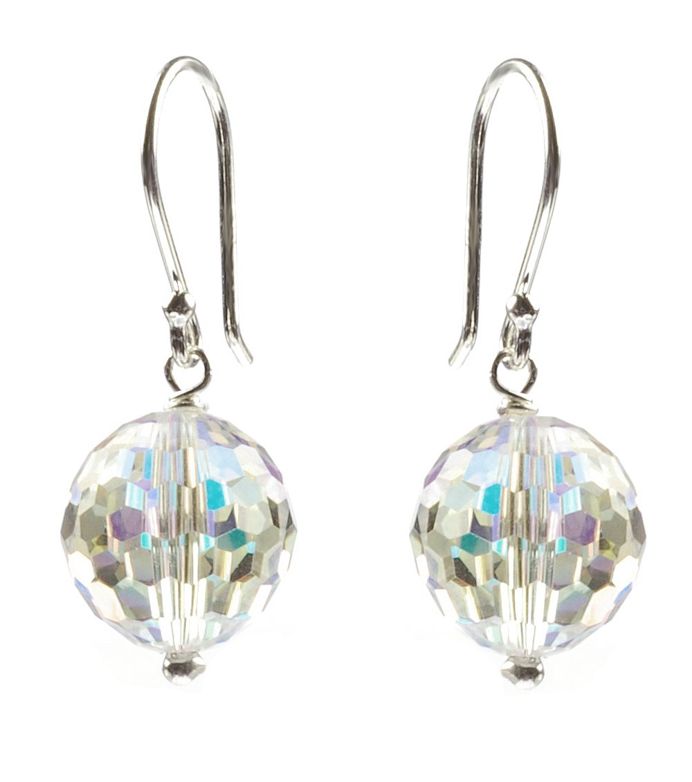 Sterling Silver Swarovski Elements Crystal Aurora Borealis Faceted Round Drop Earrings