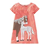 Little Girls Crewneck Cotton T-shirt Dress Short Sleeve Size 4T,Horse Appliques Orange (Color: Horse Appliques Orange, Tamaño: 4T)