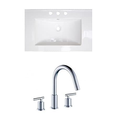 "Jade Bath JB-15741 24"" W x 18"" D Ceramic Top Set with 8"" o.c. CUPC Faucet, White"
