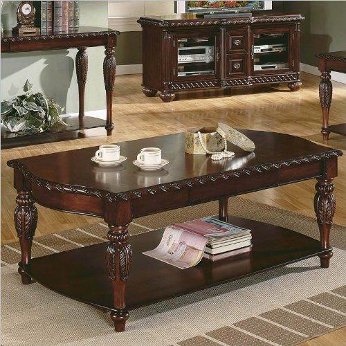 Steve Silver Antoinette Rectangular Wood Coffee Table in Cherry Wood