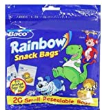 3 Baco Sandwich Rainbow Snack Fun Printed Bags - 20 Bags