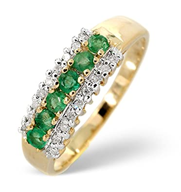 TheDiamondStore | Eternity Ring - 0.38ct Emerald & 0.09ct Diamond - 2.5mm Wide Band - 9K Gold