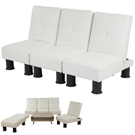 Canapé relax convertible lit d'amis lit d'appoint Melbourne II ~ similicuir, blanc