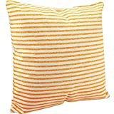 Benfan Canvas Square Decorative Throw Pillow Case Pure Cotton Cushion Cover Orange stripes 18inch
