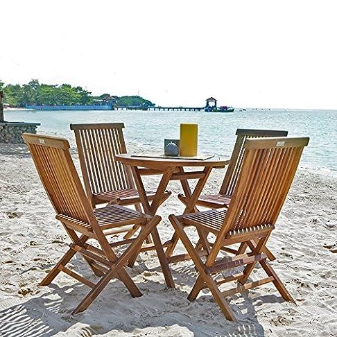 Salotto da giardino in teak oliato - Tavolo rotondo + 4 sedie pieghevoli in teak oliato