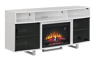"ClassicFlame 26MM9665-NW145 Enterprise Lite Contemporary TV Stand for TVs up to 80"", Gloss White (Electric Fireplace Insert sold separately)"