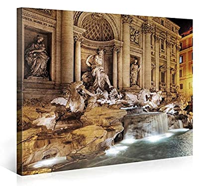 Large Canvas Print Wall Art - TREVI FOUNTAIN - Cityscape Canvas Picture Stretched On A Wooden Frame - Giclee Canvas Printing - Hanging Wall Deco Picture / s3656