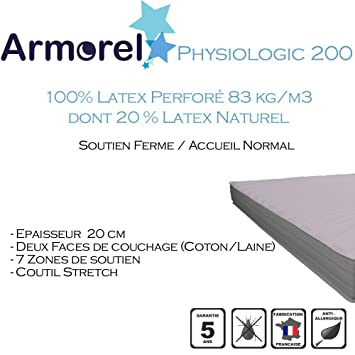 Armorel MAP200120/220 Physiologic200 Matelas Latex Perforé  Blanc 220 x 120 cm