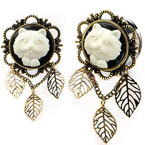 Pair of White Kitty Cat Front Triple Leaf Dangle Ear Plugs Tunnels Made with Steel & Brass - 5/8 Inch (16mm) (Cameo Ear Plugs compare prices)