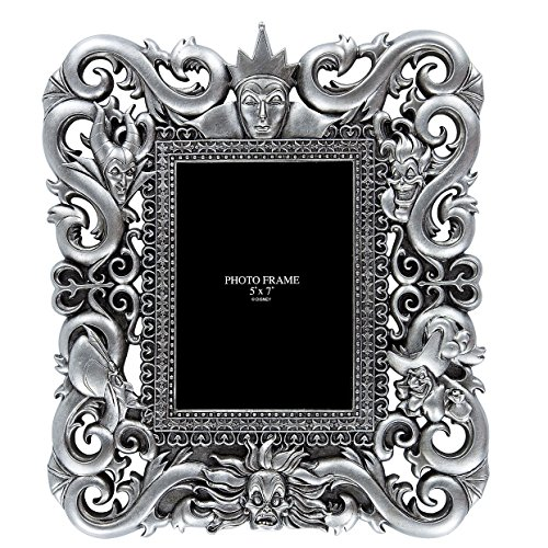 Disney Park Silver Gray Hidden Villains Character Glass 5x7 Inch Frame Photo Frame (Disney Picture Frames compare prices)