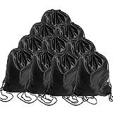 BINGONE Folding Drawstring Bag Nylon Backpack 15.4 x 13.0 inch 10 x Black (Color: 10 PCS Black, Tamaño: Medium)