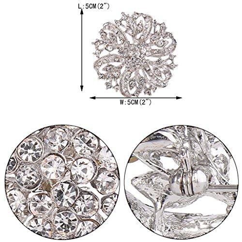 EVER FAITH® Vintage Inspired Bridal Silver-Tone Flower Brooch Corsage Austrian Crystal 3