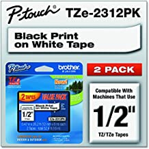 브라더 라벨기 라벨 테이프 (리필용) Brother Genuine P-touch, TZE2312PK, 1/2 (0.47) Standard Laminated P-Touch Tape