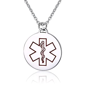 Stainless Steel Round Pendant Medical Alert ID Necklace Type 1 Diabetic,Red,Free Engraving