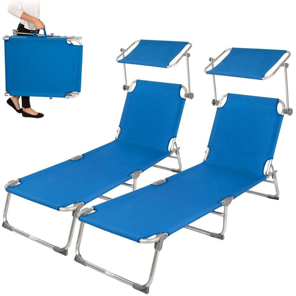 TecTake 2x Aluminium Gartenliege Sonnenliege klappbar mit Sonnendach 190cm blau jetzt bestellen